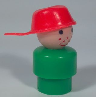 Vintage Fisher Price Little People Green Boy Pot Pan Head