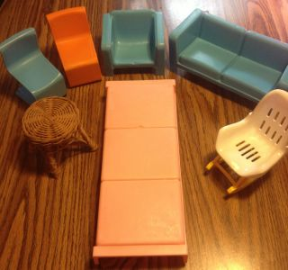 Vintage Mattel Barbie Doll House Furniture 1973 7 Pieces Must See