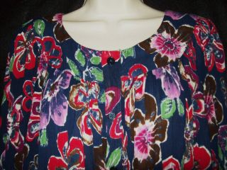 Go Softly Crinkled Rayon Muu Duster House Dress Full Button Front 1x