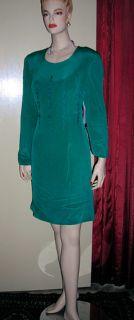 Pat Argenti St Patricks Green Silk Cocktail Dress 8