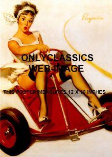 1950s Sexy Pinup Girl Go Kart Legs Nylons Auto Racing Cheesecake