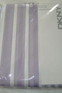 DKNY GRAPHIC STRIPE IRIS LAVENDER PURPLE WHITE FABRIC SHOWER CURTAIN