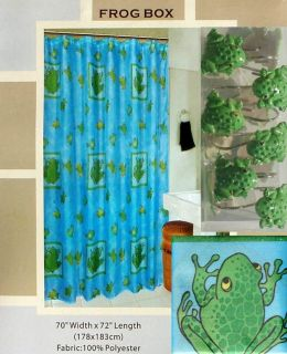 FROG BOX GREEN BLUE SHOWER CURTAIN AND HOOKS BATH ROOM SET NEW