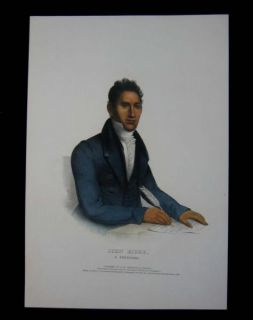 1838 Original McKenney Hall John Ridge Portrait of Cherokee Indian