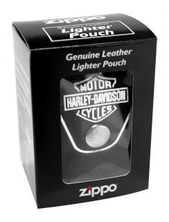 Zippo Lighter Pouch HDPBK Harley Davidson Black Leather New
