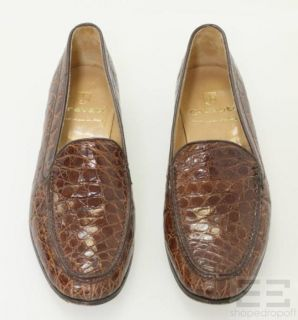Gravati Brown Croc Embossed Leather Loafers Size 9M