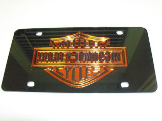 Harley Davidson Mirror Laser License Plate Black Orange New