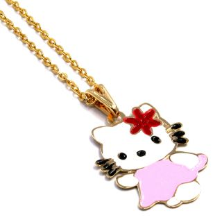 Gold 18K GF Flower Enamel Hello Kitty Girl Baby Pendant Charm Chain