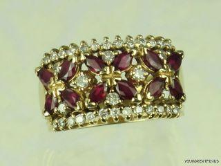 Vintage 14k Yellow Gold Ruby Diamond Cigar Band Ring X
