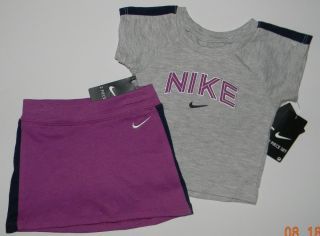 Nike Girls Magenta Grey Tennis Skirt Skort Top Outfit Set 12 Months $