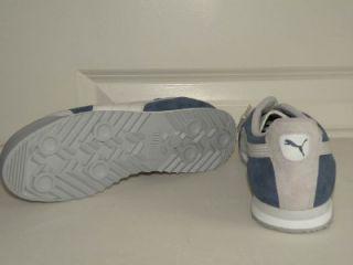 Puma Roma Pigskin JR Blue Gray Youth Leather Tennis Sneaker Shoe NIB