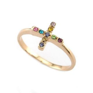 18K Yellow Gold Plated Cross Ring  89158