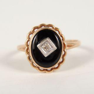 Ladies 10K Yellow Gold Black Onyx Diamond Ring Size 5 5 1 2DWT
