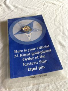 24 Karat Gold Plated Order of The Eastern Star Lapel Pin Vision with