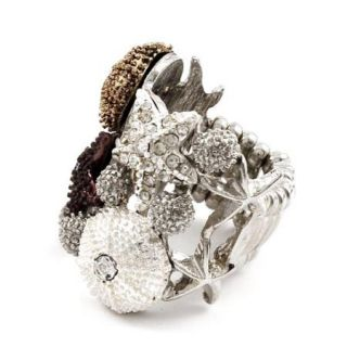 Sea Life Stretch Ring Starfish Shells Clear Crystals Gold Silver Tone