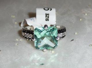 Lia Sophia Greek Isle Ring Aquamarine Ocean Blue Cushion Cut Crystal
