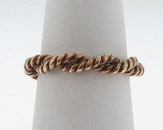 Vintage Estate Solid 18K Gold Twisted Wire Ring Size 6