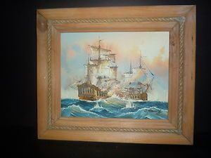 Nautical Oil Painting by J Harvey Two Old Battleships at War Signed