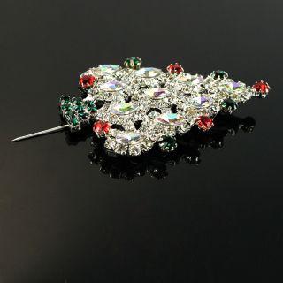New Christmas Tree Shaped Rhinestone 3 Pcs Brooch Pin Fashion
