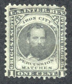 Griggs Scott Iron City Matches Tax Stamp Scott RO105E