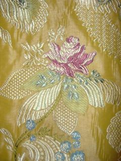 Shabby Roses French Lace Silk Brocade Fabric 5 Yards Goldenrod