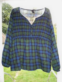 Cute Lane Bryant Blue Green Plaid Shirt Blouse Top Sz 18 20