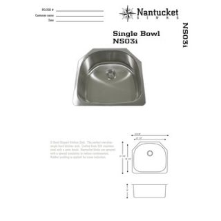 Nantucket Sinks 16 Gauge Stainless Steel D Shape Undermount Kitchen in