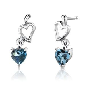 Heart Shape London Blue Topaz Pendant Earrings and 18 Necklace Set