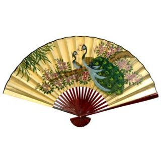 Oriental Furniture 12 x 20 Peacocks Wall Fan in Gold Leaf   YJ38