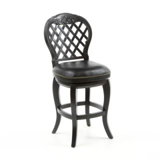 Hillsdale Braxton 26 Black Leather Swivel Counter Stool