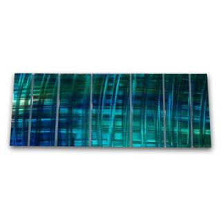 Ash Carl Metal Wall Art in Blue and Turquoise   23.5 x 60