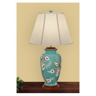 JB Hirsch 31 Porcelian Conch Shells and Seaweed Lamp   J12002E18L