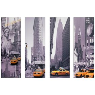 York Taxi Canvas Wall Art (Set of 4)   33.5 x 11.75   CAN ART TAXI