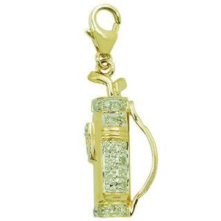 EZ Charms 14K 1.37 Grams Yellow Gold Diamond Golf Bag Charm
