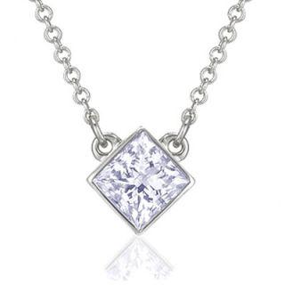 Gold TDW Princess Cut Diamond Solitaire Necklace   AM 13 / AM 38
