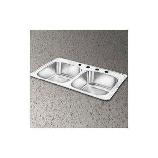 Elkay Celebrity 43 x 22 Self Rimming Stainless Steel Double Sink Set