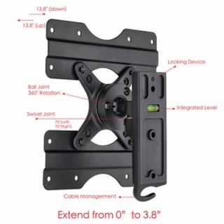 Motion Swivel LCD Wall Mount for 13 to 37 Screens in Hi Gloss Black