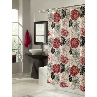 Style Full Bloom shower Curtain   MS8100 RED