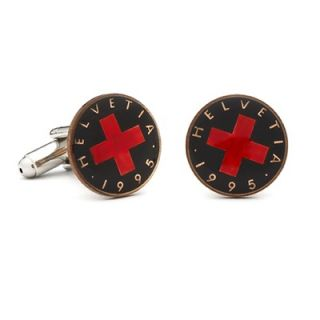 Penny Black 40 Hand Painted Swiss 1 Rappen Coin Cufflinks   PB 058