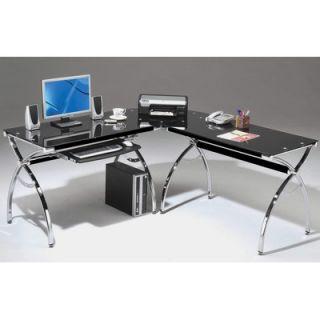 Techni Mobili L Shaped Glass Computer Desk with Chrome Frame