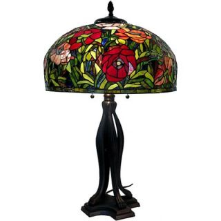 Warehouse of Tiffany Red Rose Table Lamp   GB40+ES56