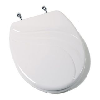 Comfort Seats Deluxe Molded Elongated Wood Toilet Seat with Chrome