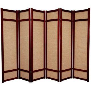 Oriental Furniture 72 Jute Shoji Screen in Rosewood