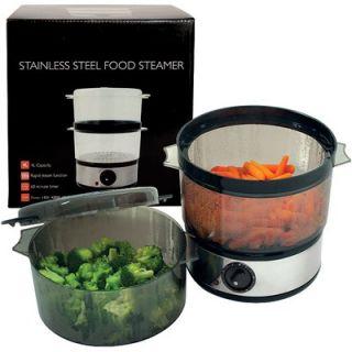 Global 4 Quart 400 Watt Stainless Steel Food Steamer   72 9093