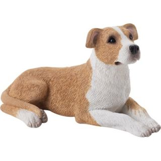 Sandicast Small Size Pit Bull Terrier Sculpture in Fawn / White