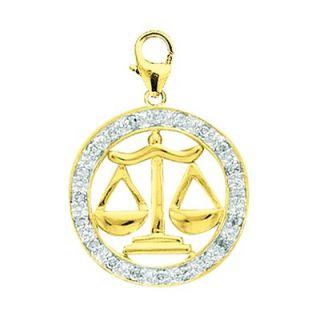 EZ Charms 14K Yellow Gold Diamond Zodiac   Libra Charm