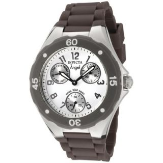 Invicta Womens Angel Watch in White Dial Brown Silicon