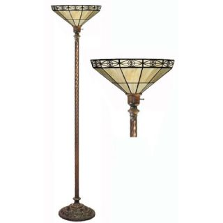 Warehouse of Tiffany Mission Style White Torchiere Lamp   BB75B+M113