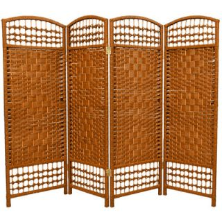 Oriental Furniture Fiber Weave 4 Panel Room Divider in Dyed Dark Beige