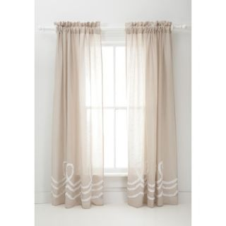 Pine Cone Hill Ruched Linen Window Panel in Platinum / White